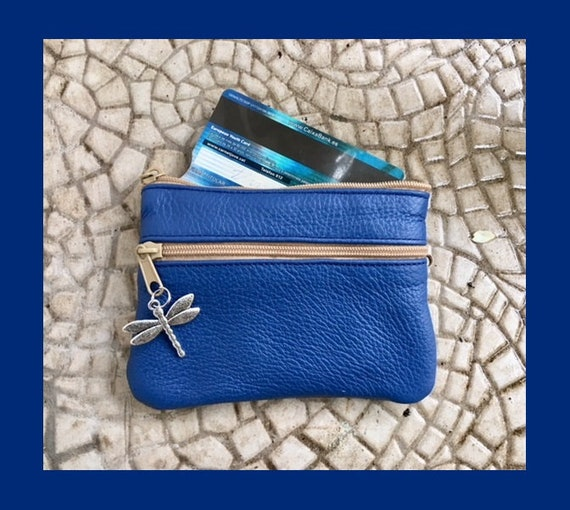 Small purse in cobalt  BLUE, genuine leather, 4 zippers. Fits credit cards, coins, bills. BLUE leather wallet. Small zipper purse in blue
