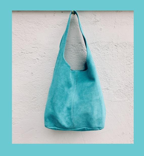 Slouch bag.Large TOTE leather bag TURQUOISE  blue. Soft natural suede genuine leather bag. Bohemian bag. Blue suede bag.Denim bag