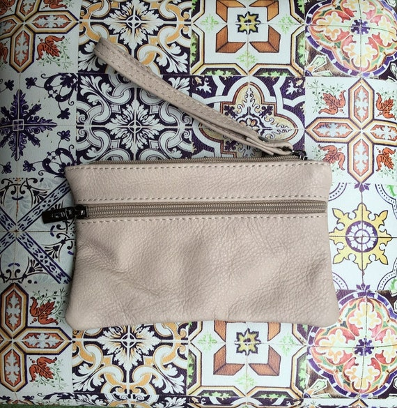 Small genuine leather wristlet BAG, iPhone case, Cosmetic bag, Make up bag,Purse in CREAMY WHITE soft leather.