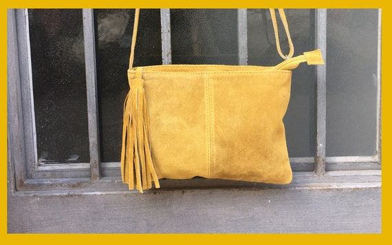 Suede leather bag in MUSTARD  YELLOW .Cross body bag, shoulder bag in GENUINE  leather. Small leather bag with adjustable strap and zipper.