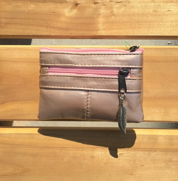 Small purse in GOLDEN PINK, genuine leather, closed by 3 zippers. Fits creditcards, coins, bills. Soft metallic PINK green leather wallet.
