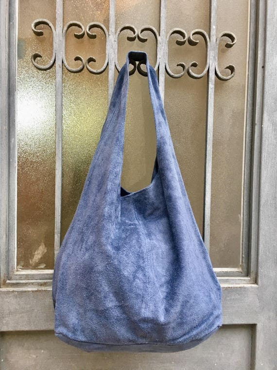 Slouch bag.Large TOTE leather bag in DENIM blue. Soft natural suede genuine leather bag. Bohemian bag. Blue suede bag.Denim bag
