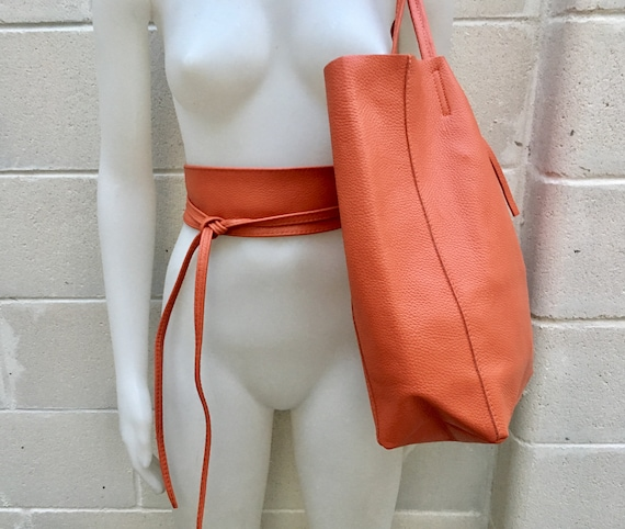 Tote bag in burnt orange with belt. Soft natural GENUINE leather bag + belt set. Large orange leather bag. Computer, tablet or Laptop bag