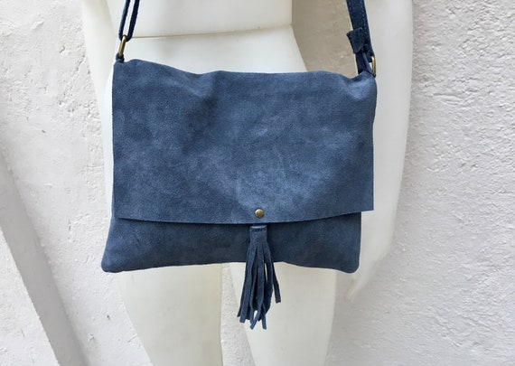 Cross body bag. BOHO suede leather bag in denim BLUE. Soft genuine suede leather. Cross body, messenger bag in BLUE suede. Small suede bags