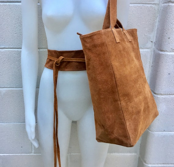 TOTE leather bag in CAMEL brown with matching suede waistbelt. Genuine suede leather bag. Boho bag. Bag for laptop, tablet, books...