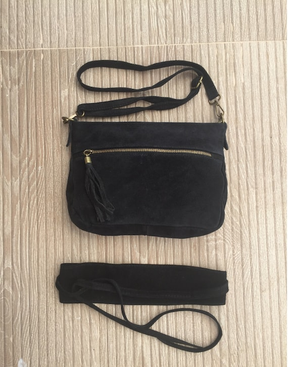 BOHO  suede leather cross over bag in BLACK with matching belt. Natural leather bag and belt. Black Messenger bag in genuine suede leather