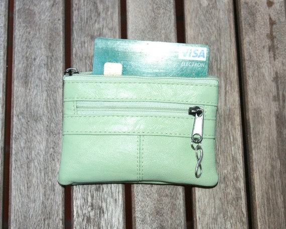 Small purse in MINT GREEN, genuine leather, closed by 3 zippers. Fits creditcards, coins, bills. Soft MINT green leather wallet.