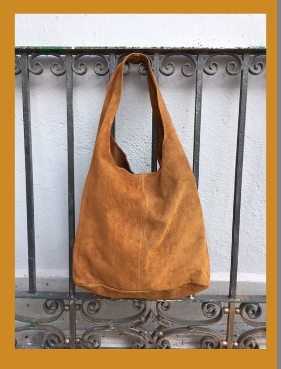Slouch bag.Large TOTE leather bag in  CAMEL brown. Genuine leather bag. Light tobacco color laptop bags in suede. Large suede leather bag.