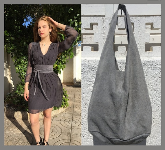 Large slouch leather bag in dark GRAY with OBI waistbelt. Soft natural suede leather bag and matching belt. Slouch bag  in grey suede
