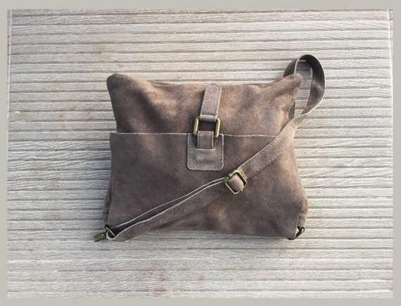 Cross body suede bag. GENUINE  leather bag in TAUPE beige. BOHO Soft natural leather bag. Messenger bag in suede  for books, tablets...