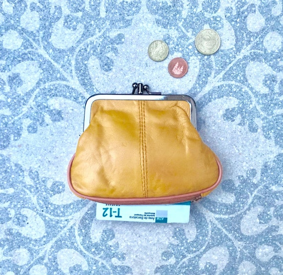 Genuine leather small clip purse in  MUSTARD YELLOW. Grandma style small purse for coins, bills and separate zipper for cards, Soft  leather