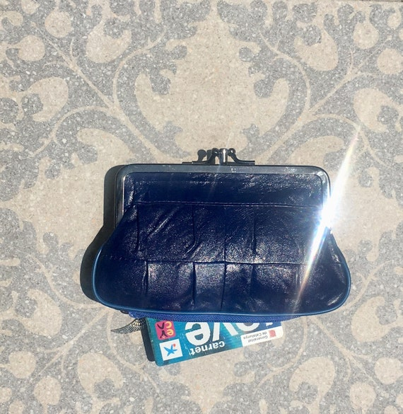 Genuine leather clip purse in dark COBALT  BLUE. Retro leather purse, clip purse in soft  leather. DARK blue wallet with metallic clasp.