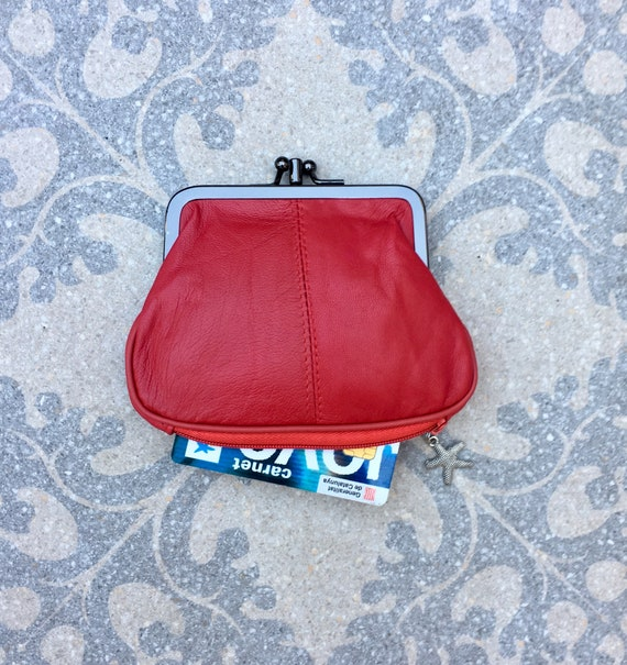 Clip purse in RED,  genuine leather. Small vintage style wallet for coins, bills and a separate zipper for credit cards. RED retro purse