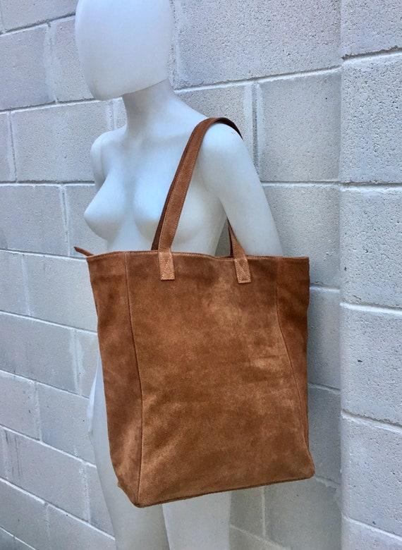 Large TOTE leather bag in CAMEL brown. Soft natural suede genuine leather bag. Boho bag.  Saddle brown suede bag. Laptop  bag in suede.