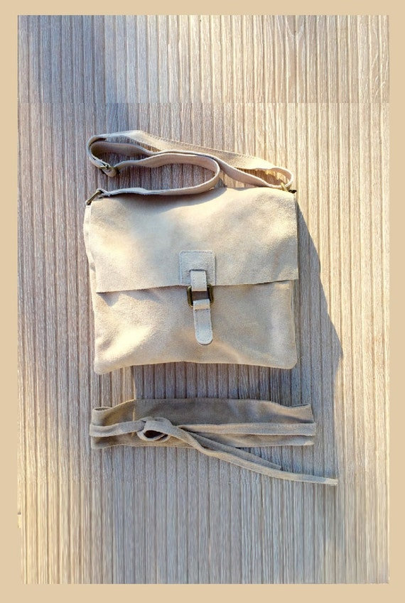 BOHO suede leather cross over bag with matching OBI belt in BEIGE. Genuine soft suede leather. Festival bag. School bag. Large bag. Hobo bag