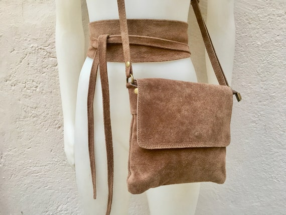BOHO  suede leather bag in BROWN with matching belt. Cross body GENUINE   leather bag and  waistbelt set. Boho festival bag