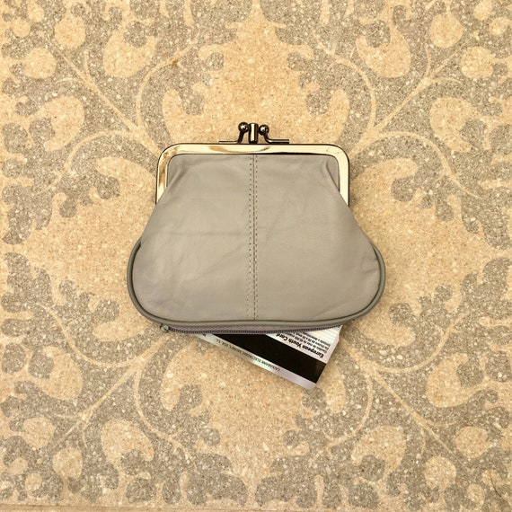 Genuine leather small clip purse in LIGHT gray. Vintage style small purse for coins, bills and separate zipper for cards, Soft grey leather