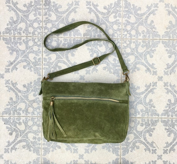 BOHO  suede leather bag in MOSS GREEN. Cross over bag, leather bag, boho bag, messenger suede bag. Soft natural leather bag with tassels