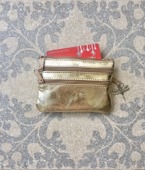 Small purse in GOLD. Genuine leather, 4 zippers. Fits credit cards, coins, bills. GOLD color leather wallet.