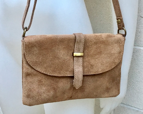 Suede leather bag in  DARK BEIGE . Crossbody bag in GENUINE  leather. Light brown  small leather bag with adjustable strap and zipper.