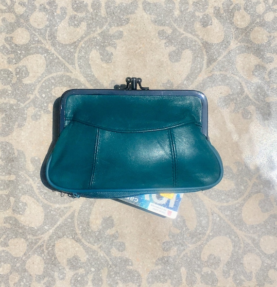 Genuine leather clip purse in TEAL BLUE. Retro leather purse, clip purse in soft  leather. DARK turquoise wallet with metallic clasp.