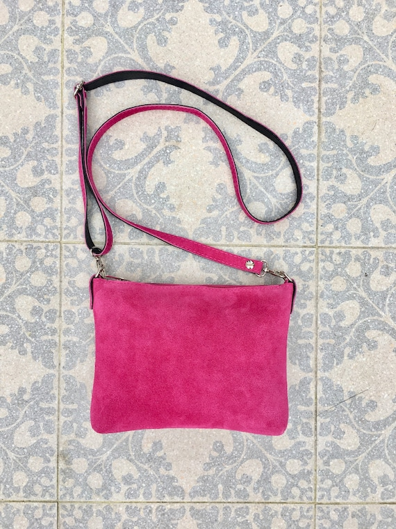 Suede leather bag in  Shocking pink. Cross body bag, shoulder bag in GENUINE  leather. Small leather bag with adjustable strap and zipper.