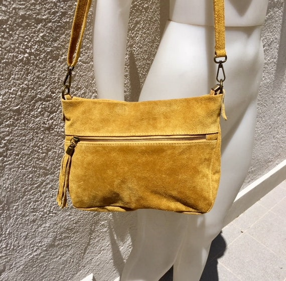 BOHO  suede leather bag in MUSTARD YELLOW. Crossbody bag in genuine leather, messenger suede bag. Soft natural leather bag in mustard