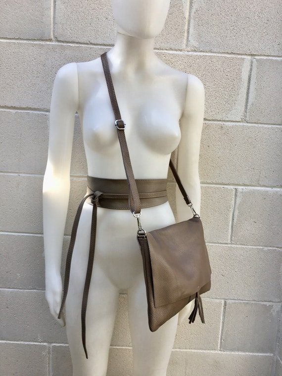 BOHO grain leather bag and obi belt in DARK BEIGE. Soft natural leather bag. Genuine grain leather set of bag and belt.