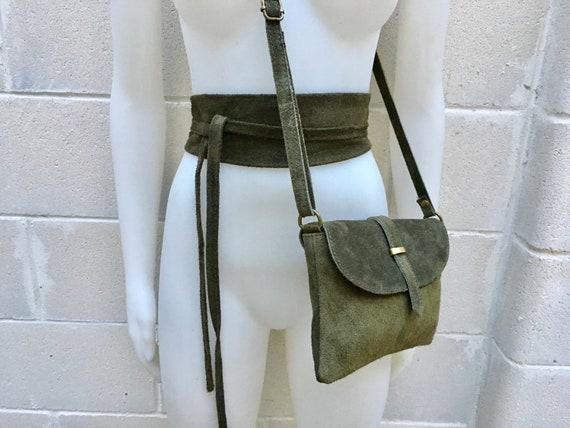 Suede leather bag in  DARK GREEN. Crossbody bag in GENUINE  leather. Green small leather bag with obi suede belt Bag and belt set