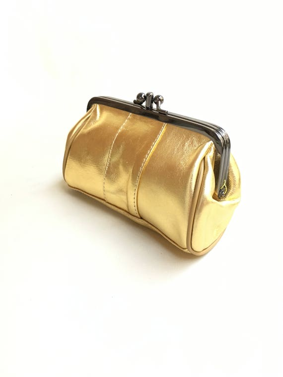 a77a10b741 Evening clutch in golden leather. Cosmetics bag, romantic purse