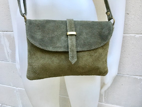 Suede leather bag in  DARK GREEN. Crossbody bag in GENUINE  leather.Green  small leather bag with adjustable strap and zipper.