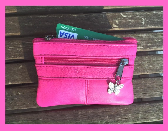 NEON PINK,  small genuine leather coin purse with butterfly metallic charm. Small purse for coins, bills and cards.