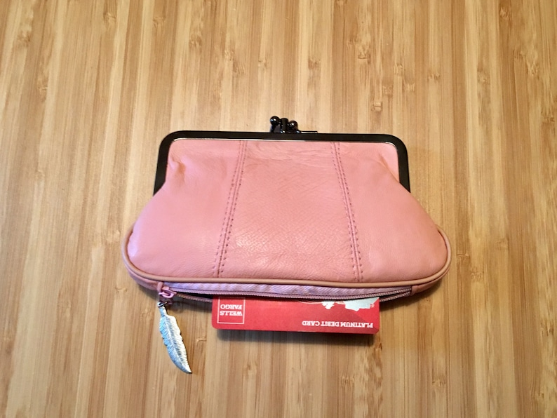 Pink leather clasp purse. retro pink purse genuine leather purse in soft pink with separate zipper for cards Kiss lock purse