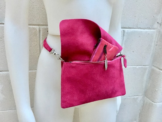 Suede  bag in shocking PINK with leather coin purse. Hip satchel, fanny pack or cross body bag with zipper and  purse set in MAGENTA color