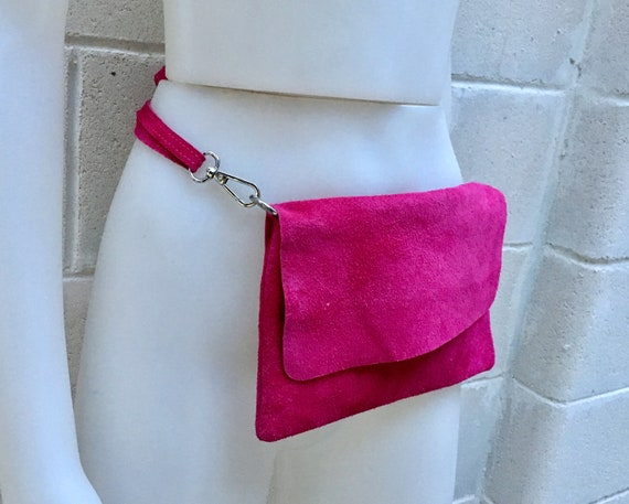 Suede  bag in shocking PINK. Soft genuine leather. Hip satchel, fanny pack or cross body bag with zipper and flap.Boho bag in MAGENTA color