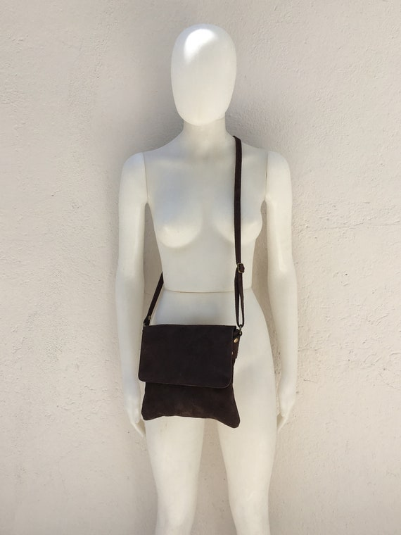Cross body bag with flap. BOHO suede leather bag in DARK BROWN. Soft genuine suede leather. Crossover, messenger bag in suede. Small bag