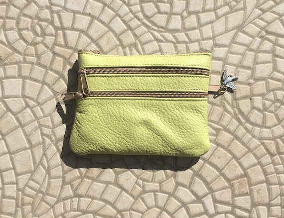 Small purse in LIME  green, genuine leather, 4 zippers. Fits credit cards, coins, bills. LIME green leather wallet with DRAGONFLY charm