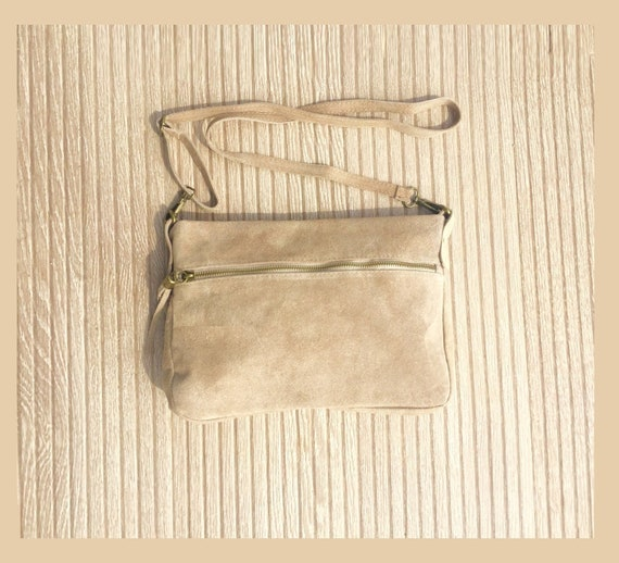suede leather bag in light BEIGE with tassel . Cross body bag in natural SUEDE. Messenger bags, bike bags, adjustable strap.