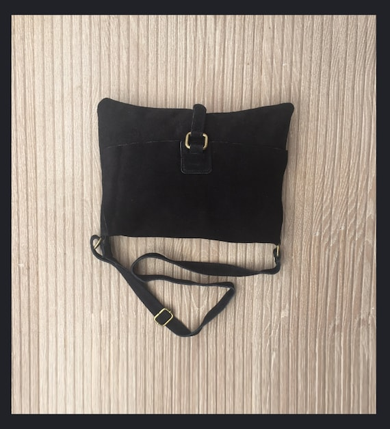 BOHO suede messenger leather bag in BLACK. Cross body bag in BLACK suede. Soft genuine leather messenger bag. School bags