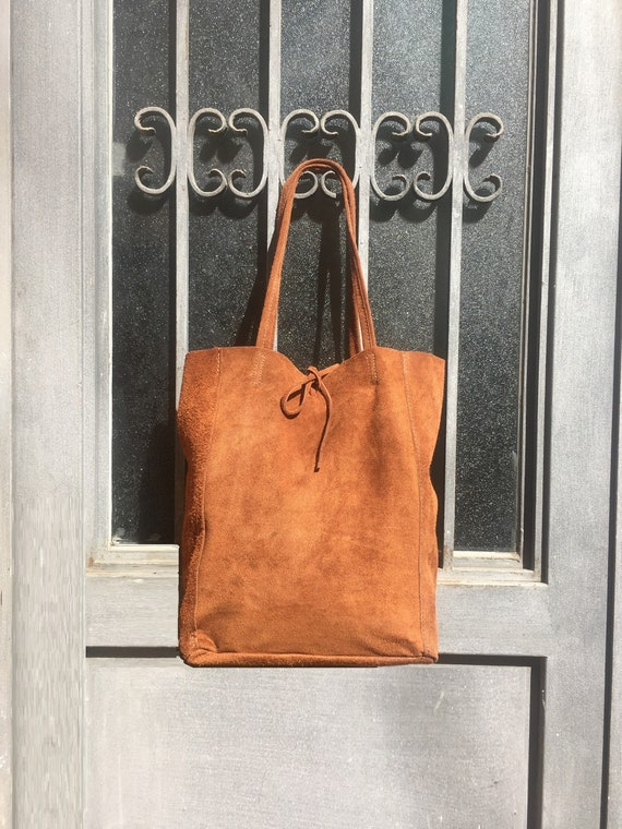 Large TOTE leather bag in CAMEL brown .Soft natural suede genuine leather bag. Boho bag.  TOBACCO suede bag. Laptop  bag in suede.