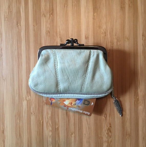 Retro purse in genuine leather. Metallic aqua green leather purse. Clip purse with extra zipper at the base.