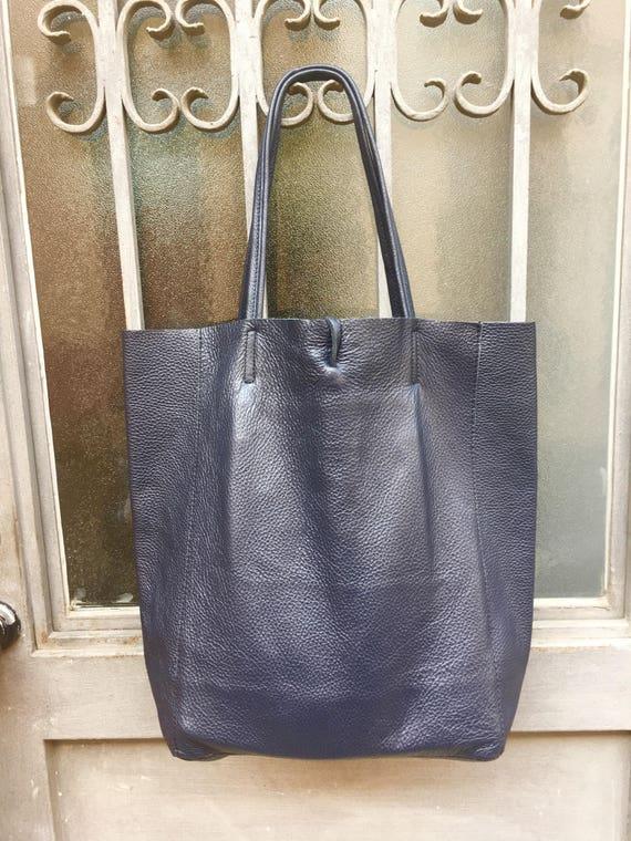 TOTE leather bag in NAVY blue. Soft natural GENUINE  leather bag. Large navy blue  leather bag. Laptop bag, Ipad bag, tablet bag.