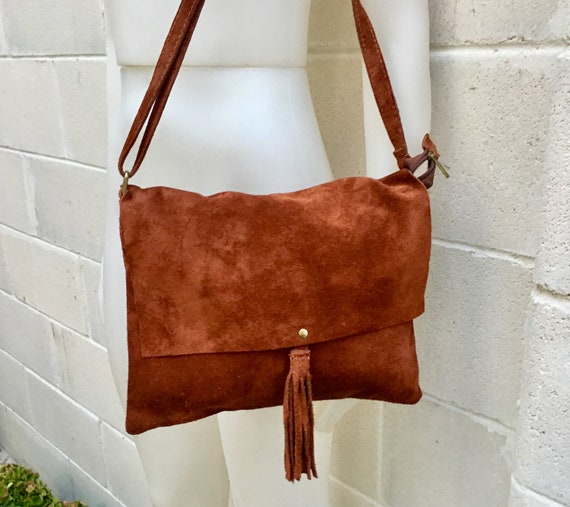 Cross body bag. BOHO suede leather bag in dark CAMEL BROWN. Soft genuine suede leather. Crossover, messenger bag in suede. Small messenger