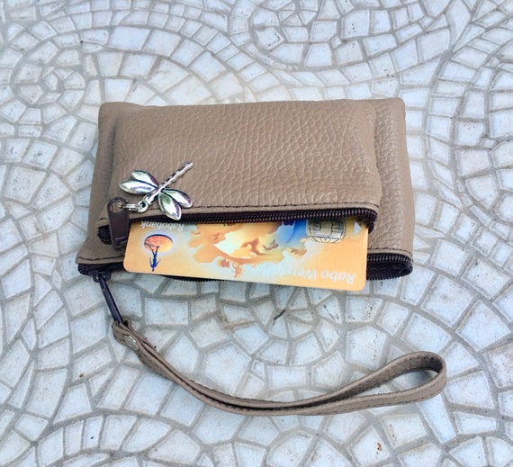 Small purse in dark BEIGE, genuine leather, 4 zippers. Fits credit cards, coins, bills. Taupe color leather wallet with DRAGONFLY charm