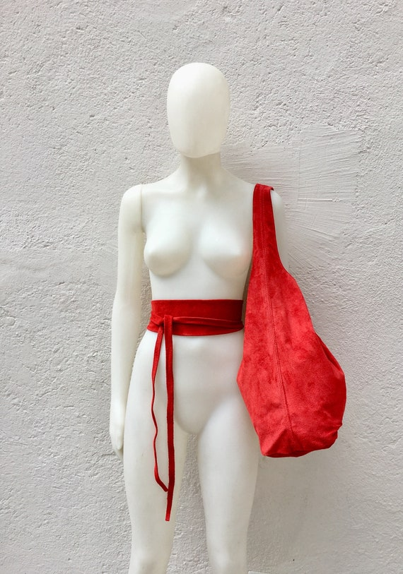 Large  SLOUCH leather bag in RED with matching OBI belt . Soft natural suede leather bag. Bohemian bag. Yellow tote suede bag.