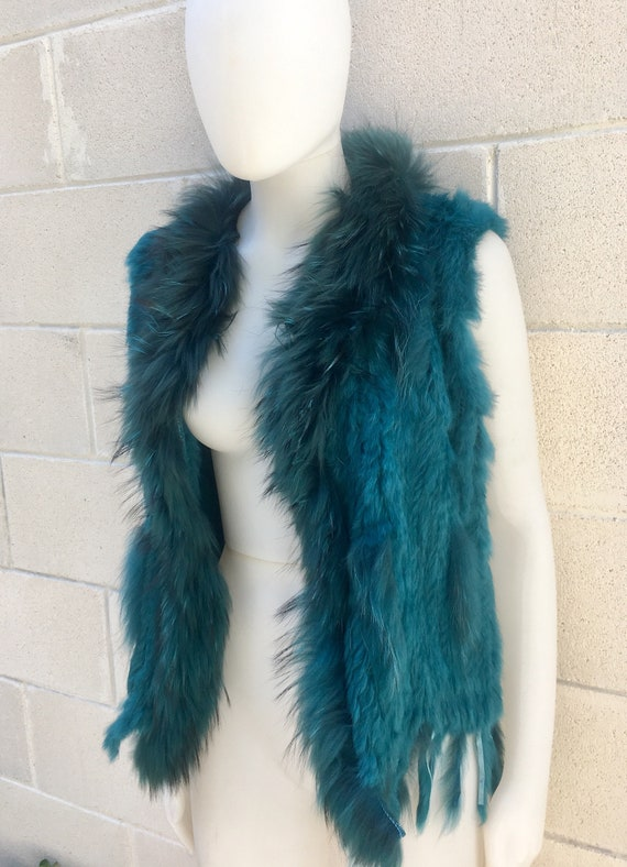 Rabbit fur vest in TEAL blue.  Knitted fur waistcoat,colorful boho vest,  soft fur vest. Genuine fur vest in teal blue.