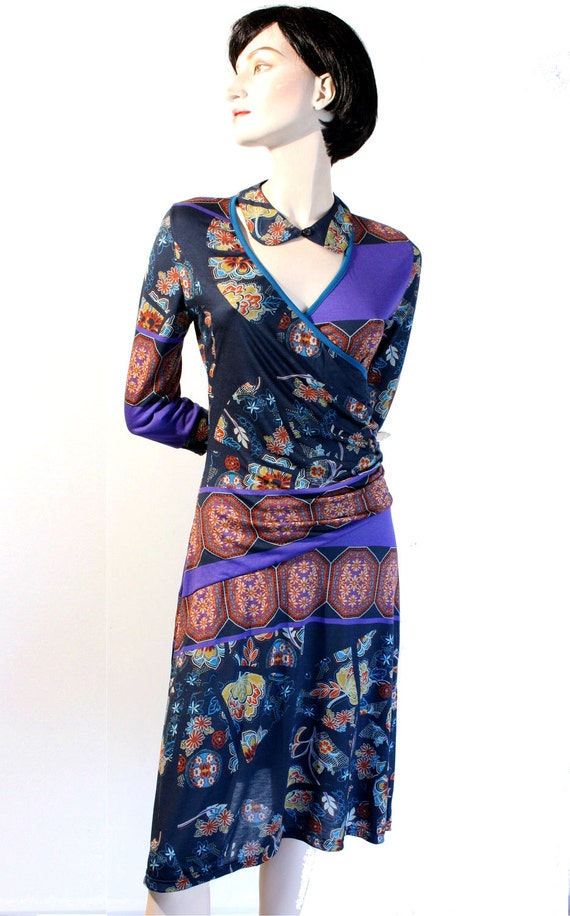 Purple dress, printed dress, jersey dress, MaD MeN,retro 40s dress, 50s, v-neck dress,knee length, BRIDESMAID, detachable COLLAR,loose skirt