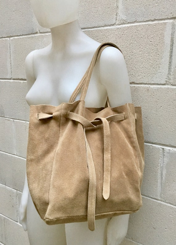Large TOTE leather bag in BEIGE.Soft natural suede genuine leather bag. Boho bag.  Taupe suede bag. Laptop  bag in suede.