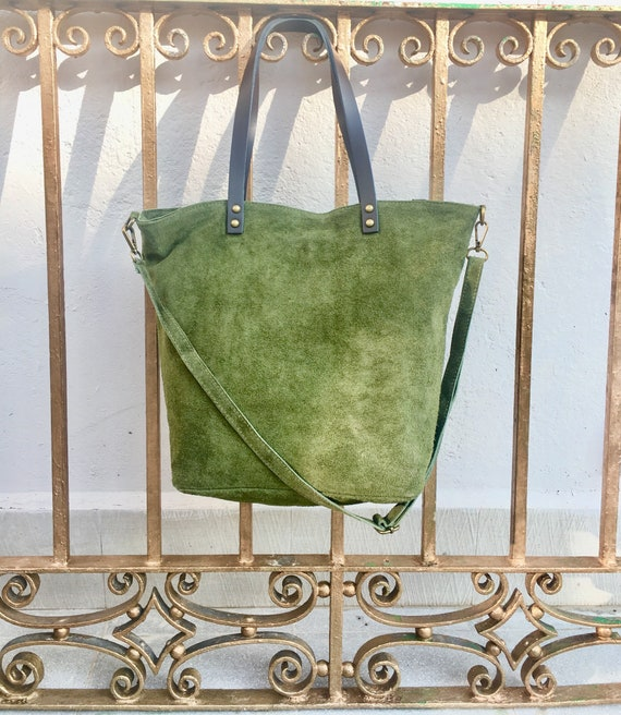 Large TOTE leather bag in MOSS green. Soft natural suede genuine leather bag. GREEN suede bag. Laptop  bag in suede. Large crossbody bag.