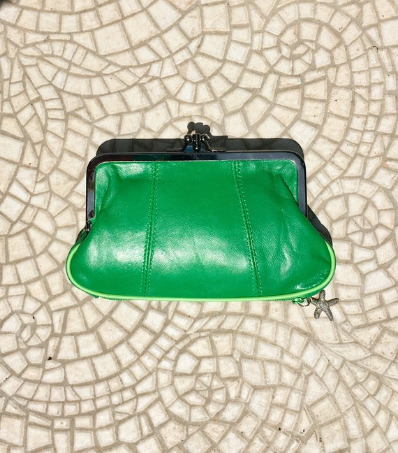 Genuine leather clip purse in GREEN. Retro leather purse, clip purse in soft  BRIGHT green  leather.  Green wallet, metallic clasp.